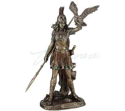 Athena Greek Goddess Of Wisdom And War, Cast Off The Owl Statue Sculpture Figure
