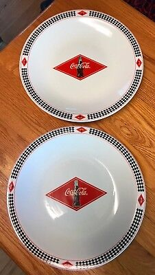 """Coca-Cola 2003 Racing Checkered Dinnerware Plates 10.5"""" by Gibson Set Of 2"""