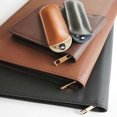 Leather Pen Case Pouch for Fountain Pens or Pencils 1, 3, 12, 48 Pens Velvet UK!