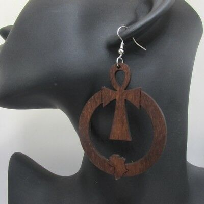 Ankh Ancient Egypt Cross Symbol of Life Africa Map Afrocentric Wooden Earrings