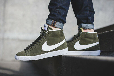 NEW Nike Blazer Mid Premium Men s Shoes Urban Haze Green White 429988-303  Suede e51da1003