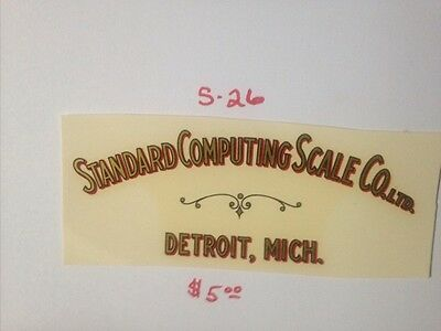 """Standard Computing Scale Co. Antique Scale & Coin Machine Decal  #s-26  5 1/2"""""""