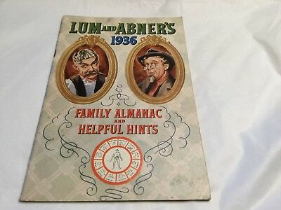 Vintage 1936 Lum And Abners Family Almanac Calendar Horlicks Malted Milk Ads Old