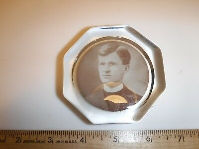 Vintage Glass Souvenir Photo Church Paperweight LEWIS PETERS East Mauch Chunk PA