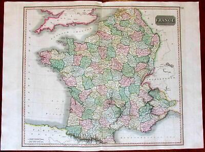 France nation Europe 1817 Thomson Hewitt large old engraved map hand colored