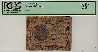 $7 CONTINENTAL CURRENCY CC-29 PCGS Currency VF-30 Feb. 17, 1776  VF30