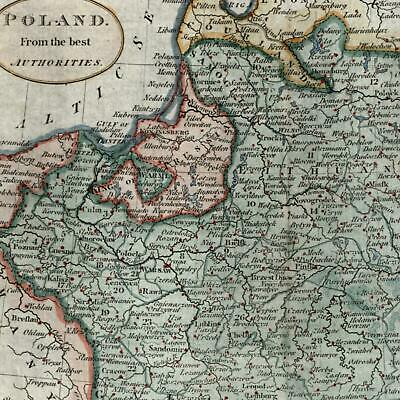 Poland from best Authorities c.1805 beautiful old map hand colored