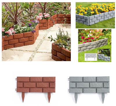 Plastic Brick Effect Lawn Garden Grass Edging Skirting Border Picket Fencing