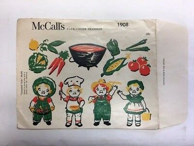 1950s McCall's Four Color Transfer 1908 Uncut Cambell's kids