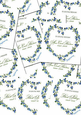 12 Elegant Personalised Funeral Cards Forget me not design Memorial Remembrance