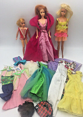 Vintage Mixed Lot 1960s Skipper Barbie Dolls Authentic Clothing & Accessories