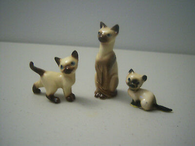 Vintage Lot of 3 Kittens Cats Figurines Blue Eyes
