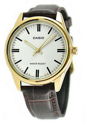 Casio Men's Quartz Gold Tone Stainless Steel Brown Leather Watch MTPV005GL-7A
