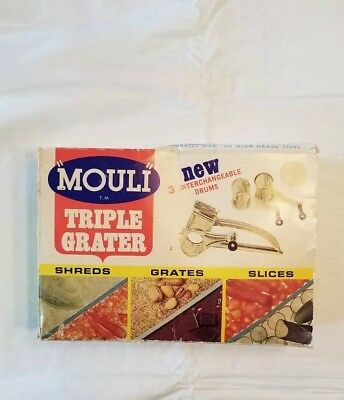 Vintage Mouli Triple Grater Rotary Shredder Stainless Steel