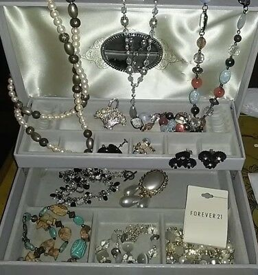 Vintage Velvet Lined Jewelry Box W/ Large Lot Of Vintage to New Costume Jewelry
