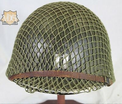 Original WW2 US M1 Helmet with Net, 71st Division Decal & St. Claire Liner