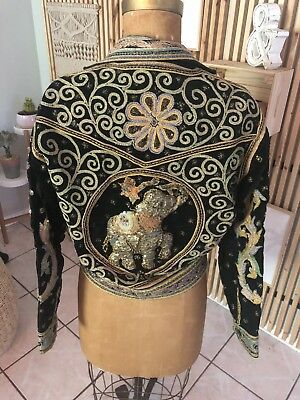 Vintage Elephant Sequin India High Fashion Cropped Jacket All Over Print Small