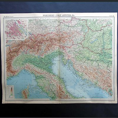 Map Of Northern Italy And Austria.Northern Italy Austria Vintage 1922 Map By Bartholomew 12 95