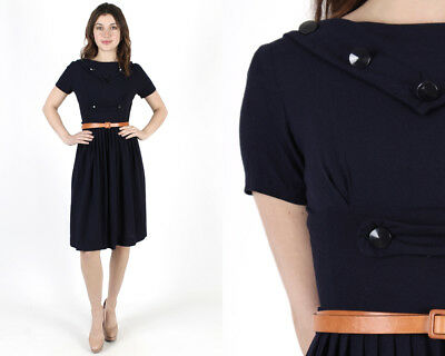 Vtg 50s Navy Nautical Dress Sailor Collar Cocktail Day Party Rayon Pleated Mini