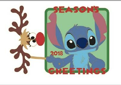 Disney Parks REINDEER STITCH mask Christmas Season's Greetings 2018 LE Pin