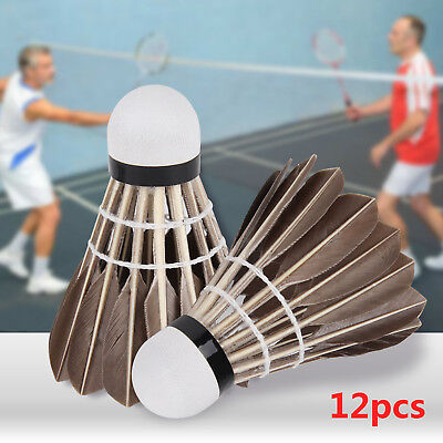 12 Pcs Pro Training Black Goose Feather Shuttlecocks Badminton Ball Game Durable