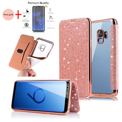 For Samsung Note 9 8 S9 S8 Plus Bling Glitter Leather Cover Clear Back Case TPU