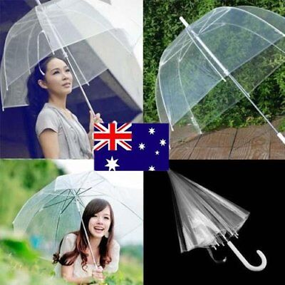 Clear Transparent Rain Umbrella Parasol Plastics Dome Wedding Party Favor R DU