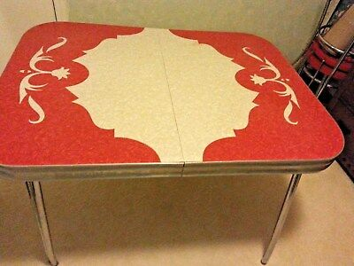 Vintage 1950's Red and White Formica and Chrome Table with Chairs Set
