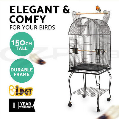 i.Pet 150cm Bird Cage Parrot Aviary Pet Stand-alone Budgie Perch Castor Wheels
