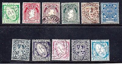 Ireland Stamps #65-74,76 — First Definitive Set Used