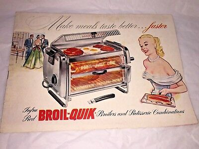 Vintage 1953 BROIL-QUIK Broiler & Rotisserie Combo Instructions & Recipe Book