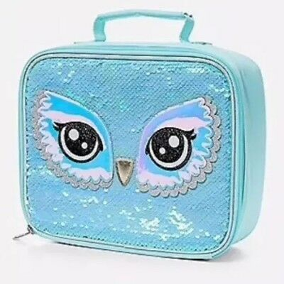 Justice Girls OWL Eyes Flip Sequin Lunch Box Tote NEW NWT Insulated BPA Free