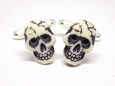 Handmade Skull Head Resin Cufflinks, Silver Plated Knurl Toggles, Gift Boxed!