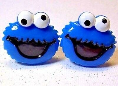 Handmade Cookie Monster Resin Cufflinks Silver Plated Toggles, Gift Boxed!