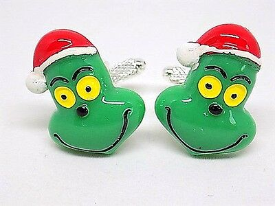 Handmade Mr. Grinch Resin Silver Plated Cufflinks, Gift Boxed!