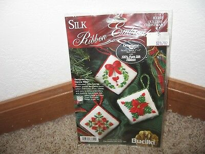 Bucilla Silk Ribbon Embroidery Quilters Christmas Ornaments Kit #83355 Nip