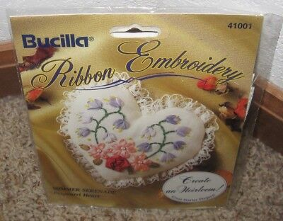 Bucilla Ribbon Embroidery Summer Serenade Potpourri Heart Kit #41001 Nip