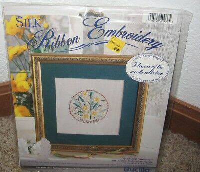 Bucilla Silk Ribbon Embroidery Kit Flower Of The Month December Nip