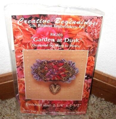 "Creative Beginnings~Silk Ribbon Embroidery~""garden At Dusk""brooch Kit #rk203~Nip"