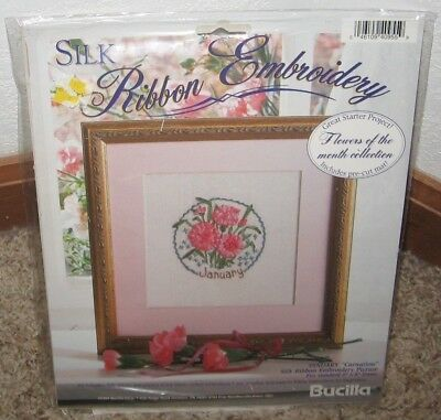 Bucilla Silk Ribbon Embroidery Kit Flower Of The Month January Nip