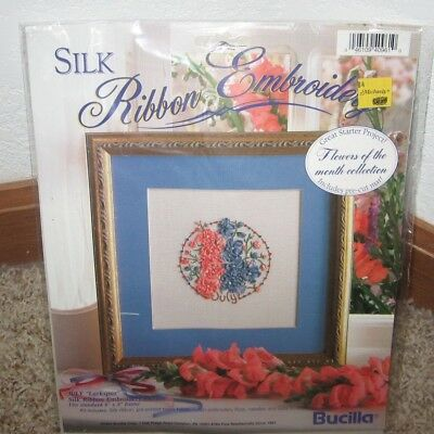 Bucilla Silk Ribbon Embroidery Kit Flower Of The Month July Nip