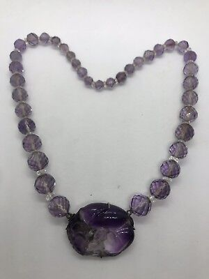Antique Chinese silver amethyst bead double fish lotus centerpiece necklace rare