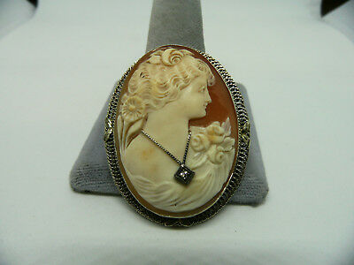 Large Antique 14K White Gold Diamond Carved Shell Cameo Pin Brooch Pendant