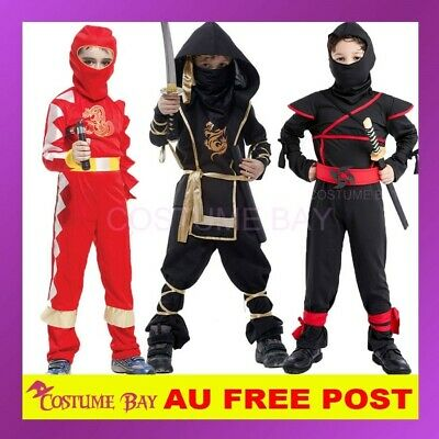 AU Kids Child Boys Stealth Ninja Warrior Kungfu Fancy Dress Halloween Book Week