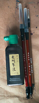 Chinese Japanese Calligraphy painting black Ink & 3 traditional Brushes