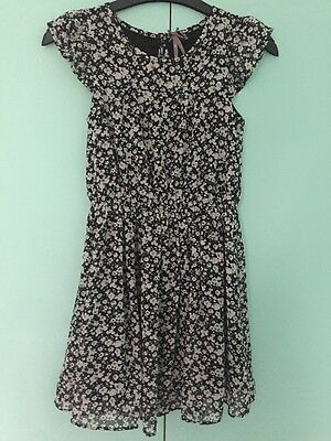 Girls Next Age 9 Short Sleeve Floral Black Floaty Style Dress