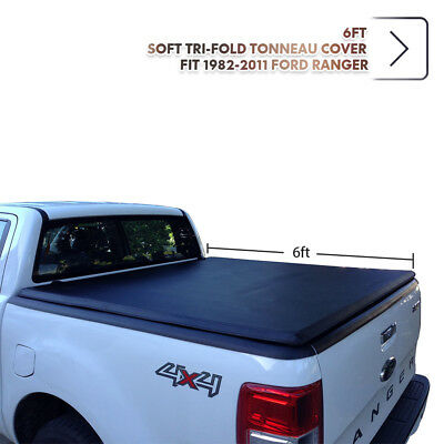 6ft Soft Tri-Fold Tonneau Cover For 1982-2011 Ford Ranger Trunk Bed