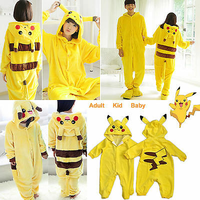 Adult Kids Pokemon Pikachu Kigurumi Pajama Cosplay Christmas Costume Sleepwear
