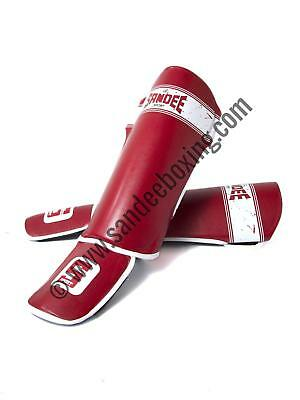 Sandee Sport Velcro Red & White Synthetic Leather Boot Shinguard