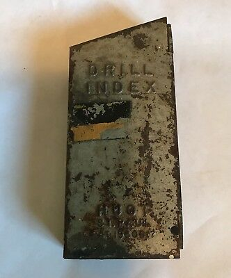 Vintage Huot Drill index with 5 drill bits as found